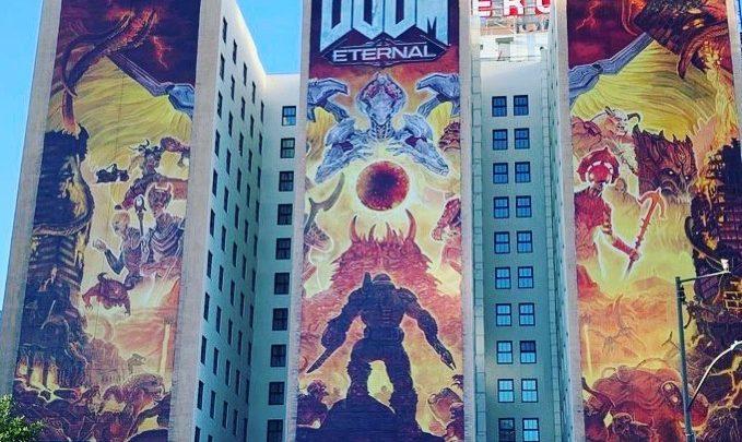 Doom Eternal ne passe pas inaperçu à Los Angelès #LosAngeles #Doom #DoomEternal #E3 #E32019 #Bethesda #XboxE3 #BlueSky #…